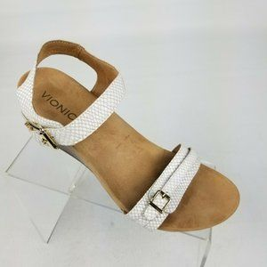 Vionic Laurie Womens Wedge Sandals White Sz 10